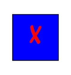 Cross red sign in blue square vector image