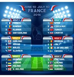 Cup EURO 2016 Final Schedule vector