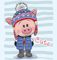Cute cartoon pig boy in a hat and coat vector