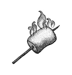 dotwork marshmallow with fire vector image