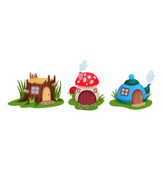 Fairy garden houses rested on green lawn vector
