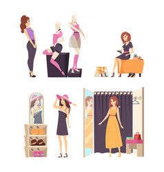 Female shopaholic wearing dress in store vector