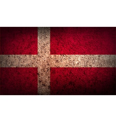 Flag of Denmark with old texture vector image