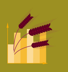flat icon on stylish background wheat infographics vector image