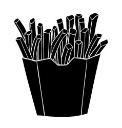 french fries in a paper cup black silhouette vector image