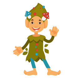 Friendly dwarf waving hand gnome with mushrooms vector