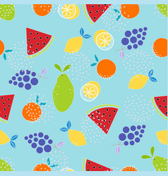 fruit pattern on blue vector image