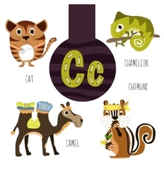 Fun animal letters of the alphabet vector