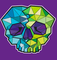 Funny geometric colorful skull icon or sticker vector