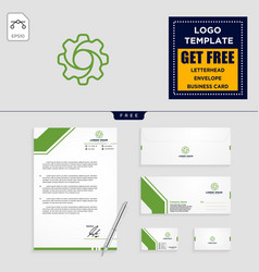 gear and business chart logo template and vector image