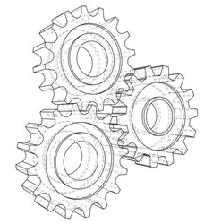 gear sketch rendering of 3d wire-frame vector image