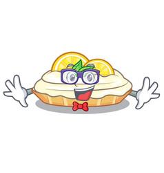 Geek cartoon lemon cake with lemon slice vector
