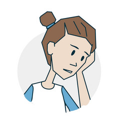 girl is upset and thoughtful vector image