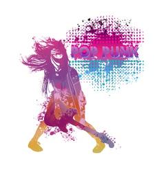 Girl playing guitar pop punk vector