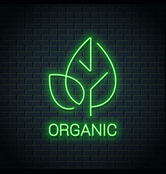 green leaf neon logo organic eco product vector image