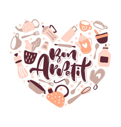 Greeting card love with bon appetit lettering vector