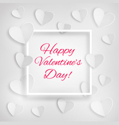 Greeting card white hearts happy valentines day vector