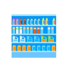 Grocery shelves with bottles and packages vector