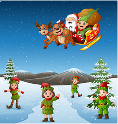 happy kids wearing elf costume in the snowing hill vector image
