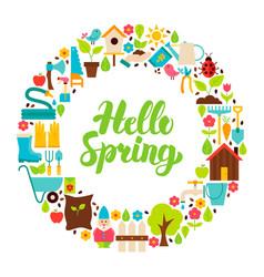 hello spring flat circle vector image