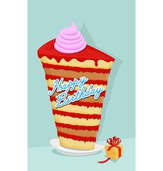 high cake birthday piece of cake on a plate Gift vector image