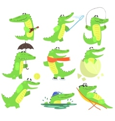 Humanized Crocodile Character Every Day Activities vector
