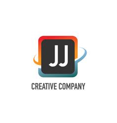 initial letter jj swoosh creative design logo vector image
