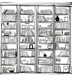 Library book shelf doodle background vector