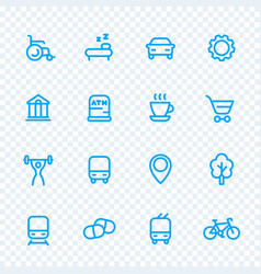 Line icons set for map pictograms signs for city vector