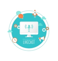Livecast or Web Stream Computer with vector