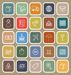 logistics line flat icons on brown background vector image