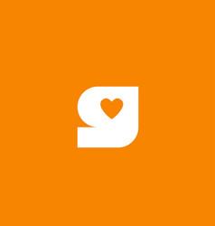 Love heart orange white alphabet letter g for vector