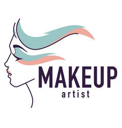 Makeup artist emblem logo of studio or workshop vector