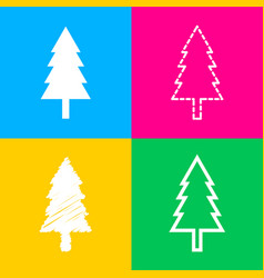 new year tree sign four styles of icon on four vector image