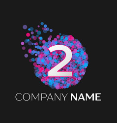 number two logo with blue purple pink particles vector image