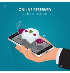 Online reserved table in restaurant Concept vector