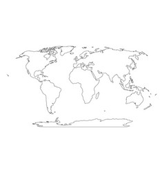 Outline map of world simple flat vector