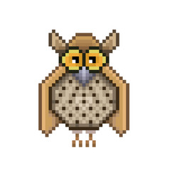 Owl pixel icon in the vector