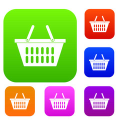plastic shopping basket set color collection vector image