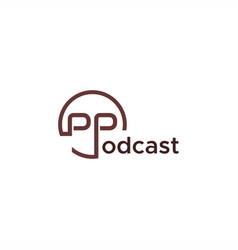 podcast text logo vector image