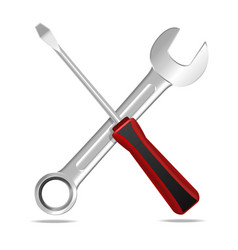 realistic detailed wrench and screwdriver vector image