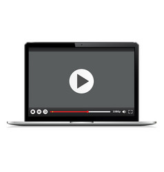 realistic modern laptop isolated video player vector image