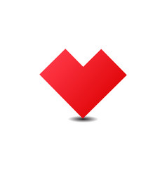 red heart icon flat simple red symbol vector image