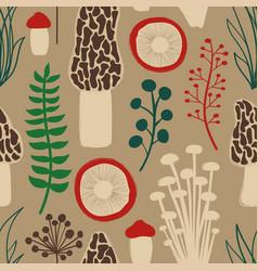 Retro seamless pattern with mushrooms vector