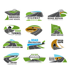 Road icons highway or way route path and pathway vector