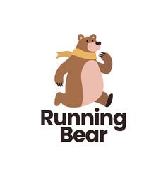running bear flat logo icon vector image