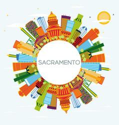 sacramento usa city skyline with color buildings vector image