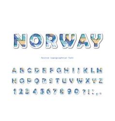 scandinavian font modern 3d alphabet cut vector image