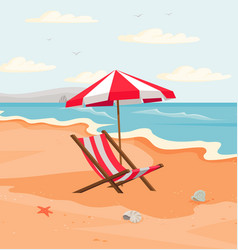 seascape with resting place for tourists empty vector image