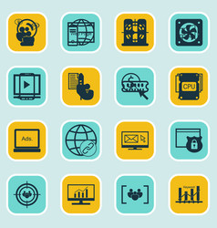 Set of 16 marketing icons includes keyword vector